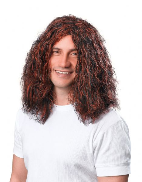 Adults Mans Hippy Brown/Black Wig Hippie 60s 70s Fancy Dress